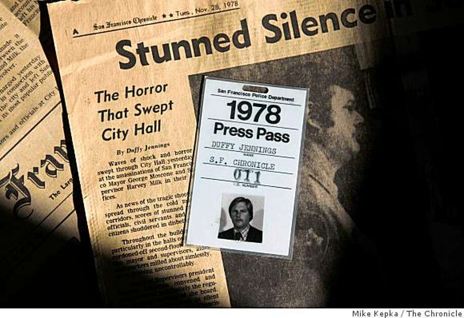 Former San Francisco Chronicle reporter Duffy Jennings, who covered the shooting of Mayor George Moscone and Sup. Harvey Milk in 1978, shows off his press pass and historic clippings, on Thursday Nov, 13, 2008, in San Jose, Calif. Photo: Mike Kepka, The Chronicle