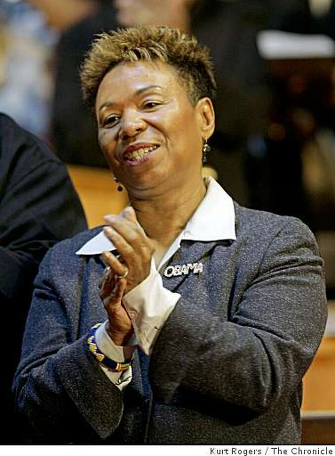 Barbara Lee Democratic member of the United States House of Representatives was on hand at the Allen temple Baptist Church in Oakland to celebrate the nations first black president in Oakland, Calif., on Wednesday Nov 5,  2008. Photo: Kurt Rogers, The Chronicle