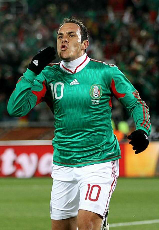 POLOKWANE, SOUTH AFRICA - JUNE 17:  Cuauhtemoc Blanco of Mexico celebrates after scoring a penalty during the 2010 FIFA World Cup South Africa Group A match between France and Mexico at the Peter Mokaba Stadium on June 17, 2010 in Polokwane, South Africa. Photo: David Cannon, Getty Images