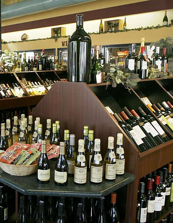 Fine wine for sale on display at the Millbrae Market gas station in Millbrae, CA. Photo: Michael Maloney, The Chronicle