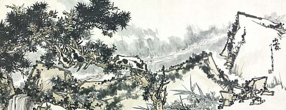 """Clearing After the Rain"" c. 1962 ink and colors on paper (hanging scroll) by Pan Tianshou Photo: Courtesy, Pan Tianshou Memorial Museum"