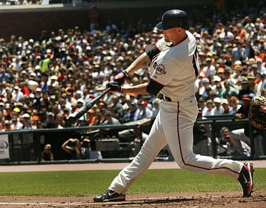 San Francisco Giants' Aubrey Huff hits an RBI-double against the Baltimore Orioles in the first inning of a baseball game, Wednesday, June 16, 2010, in San Francisco. Photo: Dino Vournas, AP