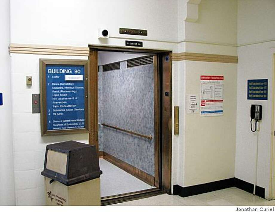 The main elevator at Bulding 90 at S.F. General Hospital Photo: Jonathan Curiel