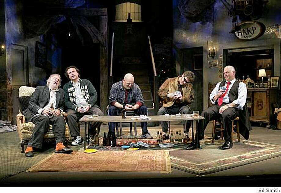 "An Irish Christmas Eve celebration with Julian Lopez-Morillas (left -- note, Lopez takes accent / over the o), Andrew Hurteau, Andy Murray, John Flanagan and Robert Sicular in Conor McPherson's ""The Seafarer"" at Marin Theatre Company. Photo: Ed Smith"