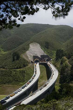 An elevated view of the north end of at the Devil's Slide Bypass in Pacifica on June 17, 2010. Photo: Chad Ziemendorf, The Chronicle