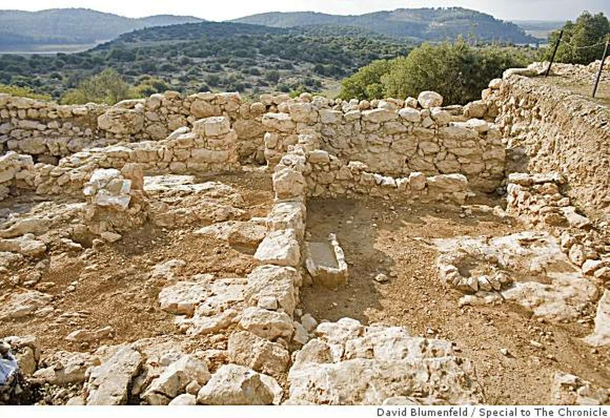 The archeological site which was recently uncovered by Prof. Yosef Garfinkel which he believes to be the biblical town of Shaarayim, which means 2 gates, and is mentioned in relation to the story of King David in the bible, on November 13, 2008.