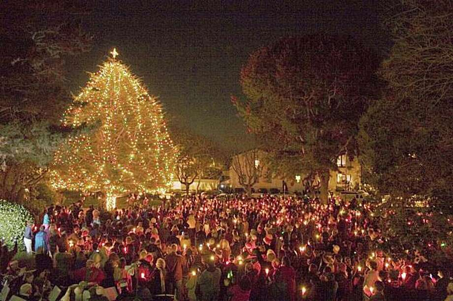 The annual tree-lighting ceremony at Colton Hall, formerly the capital of Alta California,  marks the Christmas season in historic Monterey. Photo: Courtesy City Of Monterey