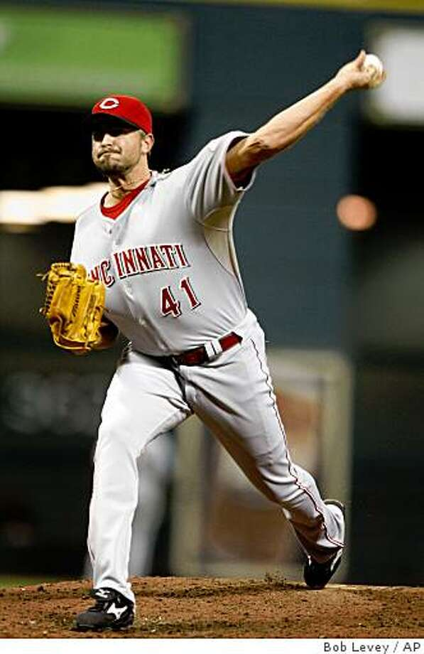 In this Sept. 24, 2008 file photo, Cincinnati Reds relief pitcher Jeremy Affeldt pitches in a game against the Houston Astros in Houston. Photo: Bob Levey, AP