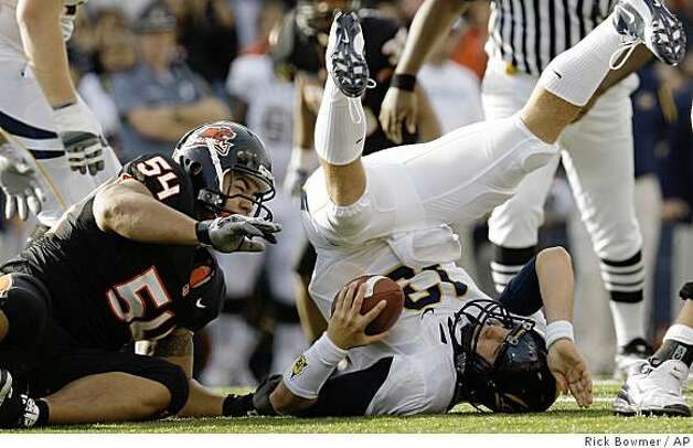 Oregon State's Stephen Paea (54) sacks California's quarterback Kevin Riley (13) in the second quarter Saturday, Nov. 15, 2008, in Corvallis, Ore. Photo: Rick Bowmer, AP