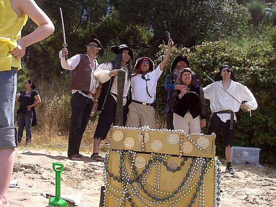 "Assorted ""pirates"" celebrating at the 2009 Sailstice event on Treasure Island. Photo: Paul Oliva"