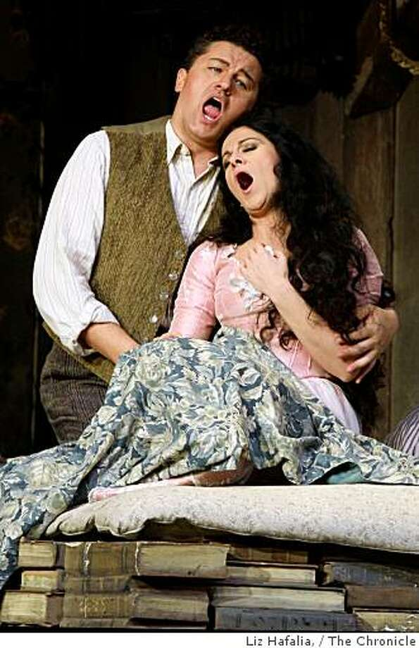 "Piotr Beczala and Angela Gheorghiu in Giacomo Puccini's ""La Boheme"" at War Memorial Opera House in San Francisco, Ca., on Thursday, November 14, 2008. Photo: Liz Hafalia,, The Chronicle"