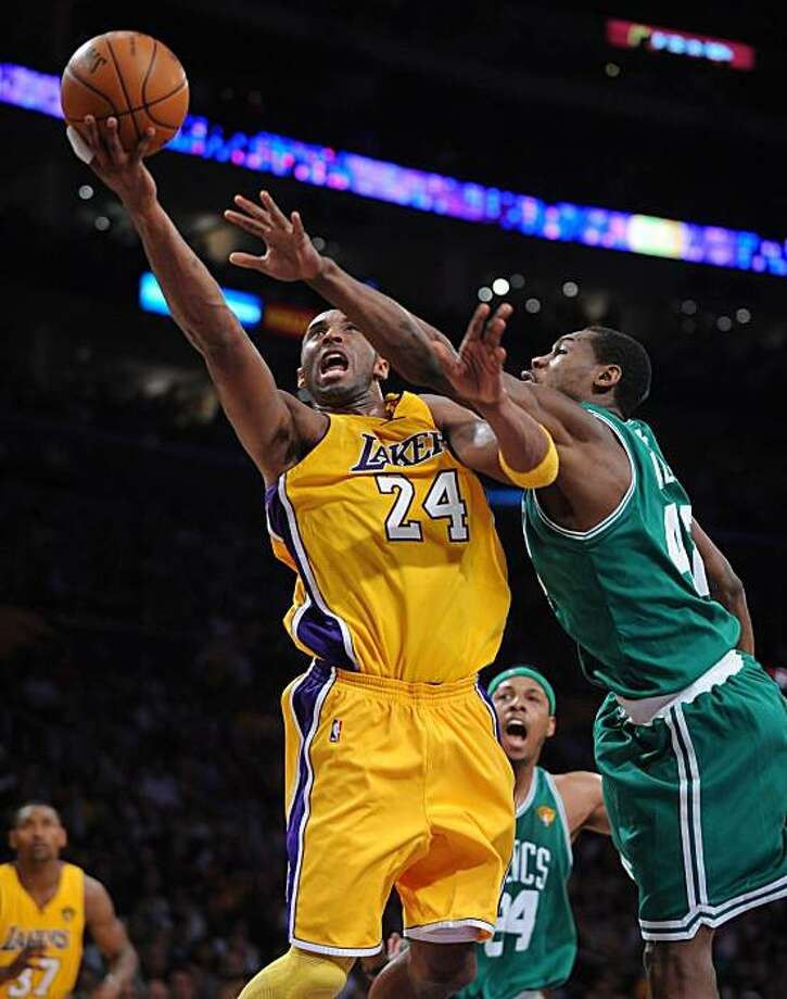The Los Angeles Lakers' Kobe Bryant, left, drives to the basket against Tony Allen of the Boston Celtics in the first quarter of Game 6 of the NBA Finals at Staples Center in Los Angeles, California, on Tuesday, June 15, 2010. (Wally Skalij/Los Angeles Times/MCT) Photo: Wally Skalij, MCT