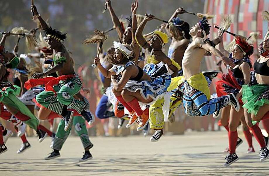Artists perform during the World Cup opening ceremony at Soccer City in Johannesburg, South Africa, Friday, June 11, 2010. Photo: Martin Meissner, AP