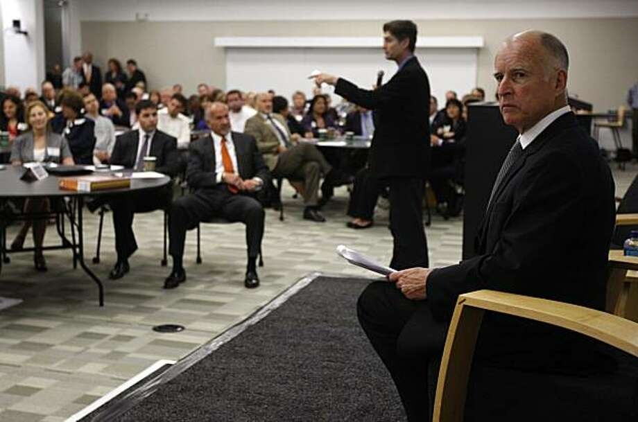 Attorney General, and Democratic gubernatorial candidate, Jerry Brown is introduced by Silicon Valley Leadership Group CEO Carl Guardino before Brown meets with technology leaders in Mountain View, Calif., on Tuesday, June 15, 2010. Photo: Paul Chinn, The Chronicle