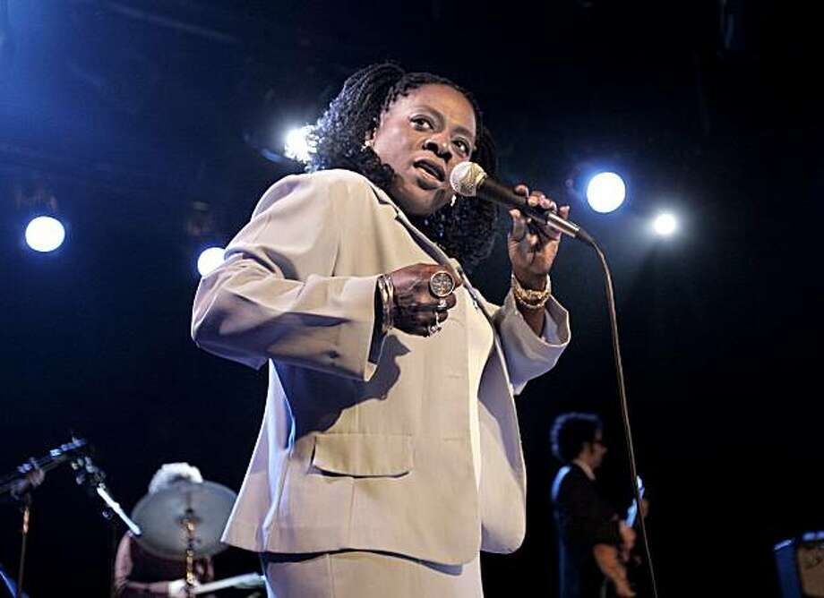 Sharon Jones and the Dap Kings are  Brooklyn-based soul revivalists.  they're photographed onstage at Bimbo's 365 Club on Columbus Ave. in San Francisco.    These pictures made on THURSDAY, SEPT. 21, 2006, in San Francisco, CA.  (Katy Raddatz/The S.F.Chronicle) **Sharon Jones, Dap Kings Photo: Katy Raddatz, The Chronicle 2006