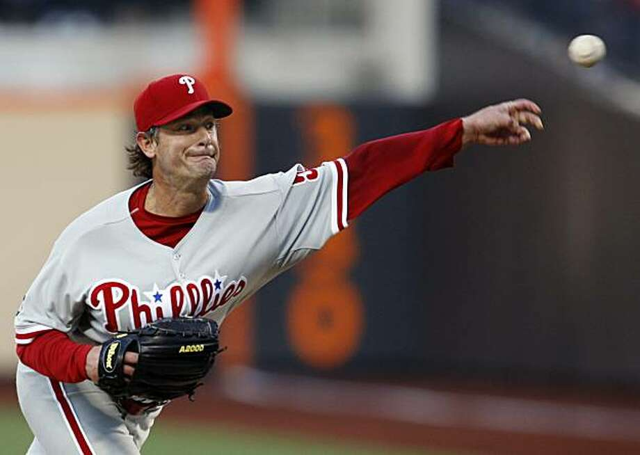 Philadelphia Phillies starting pitcher Jamie Moyer delivers in the second inning against the New York Mets in a baseball game at Citi Field in New York, Tuesday, May 25, 2010. Photo: Kathy Willens, AP