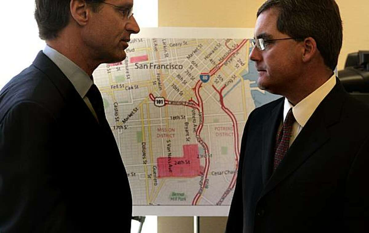 San Francisco Chief Assistant District Attorney Russ Guintini, left and San Francisco City Attorney Dennis Herrera.