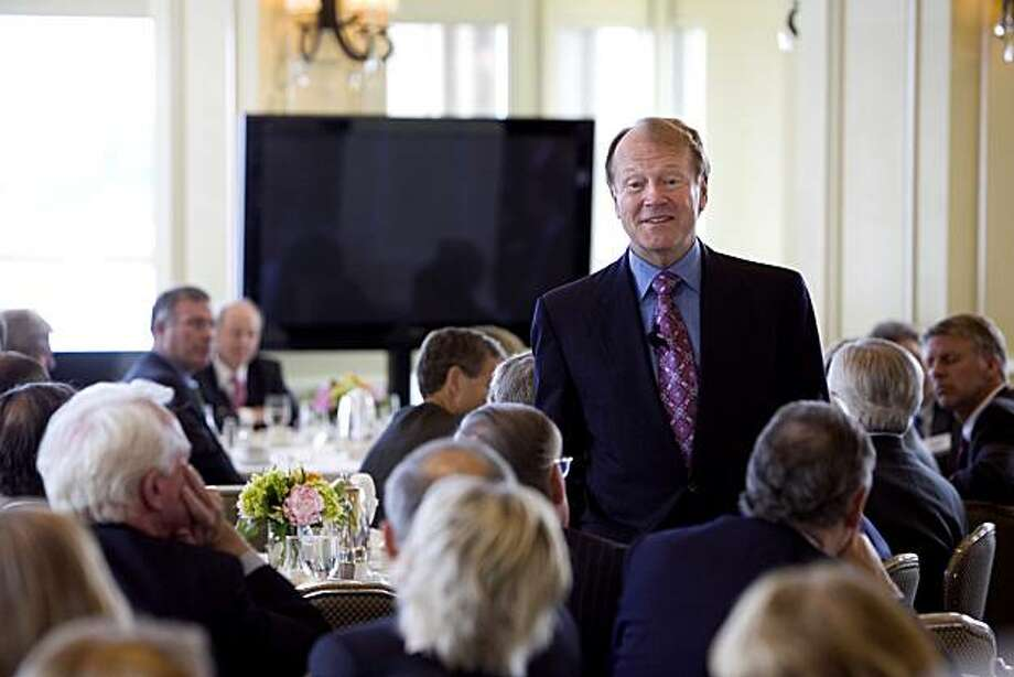 "John Chambers, chairman and chief executive officer of Cisco Systems Inc., speaks to the Chief Executives' Club of Boston in Boston, Massachusetts, U.S., on Friday, June 11, 2001. Chambers said high U.S. taxes remain the major reason California-based Cisco has $40 billion in cash overseas and suggested America's opportunity to ""bring back the cash"" may be limited. Photographer: Michael Fein/Bloomberg *** Local Caption *** John Chambers Photo: Michael Fein, Bloomberg"