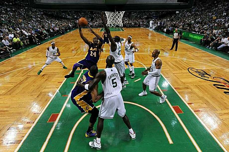 BOSTON - JUNE 8:  Kobe Bryant #24 of the Los Angeles Lakers attempts a shot in the first half against Kevin Garnett #5 of the Boston Celtics in Game Three of the 2010 NBA Finals on June 8, 2010 at TD Garden in Boston, Massachusetts. Photo: Pool, Getty Images