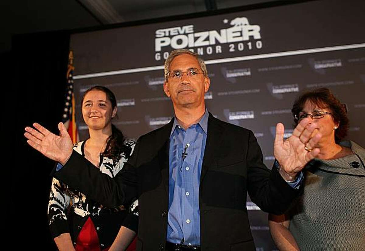 Steve Poizner, center, with his wife Carol, right, and daughter Rebecca delivers his concession speech at his election night party Tuesday, June 8, 2010, in Irvine, Calif. Poizner was a candidate for the Republican nomination for governor in the California Primary.