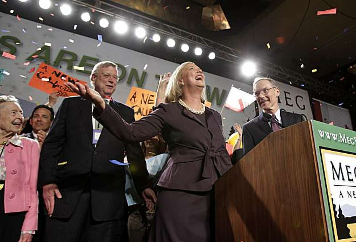 Republican gubernatorial candidate Meg Whitman, center, and her husband Griffith Harsh IV, right, celebrate after she won the Republican nomination for California governor during an election night gathering in Los Angeles, Tuesday, June 8, 2010.