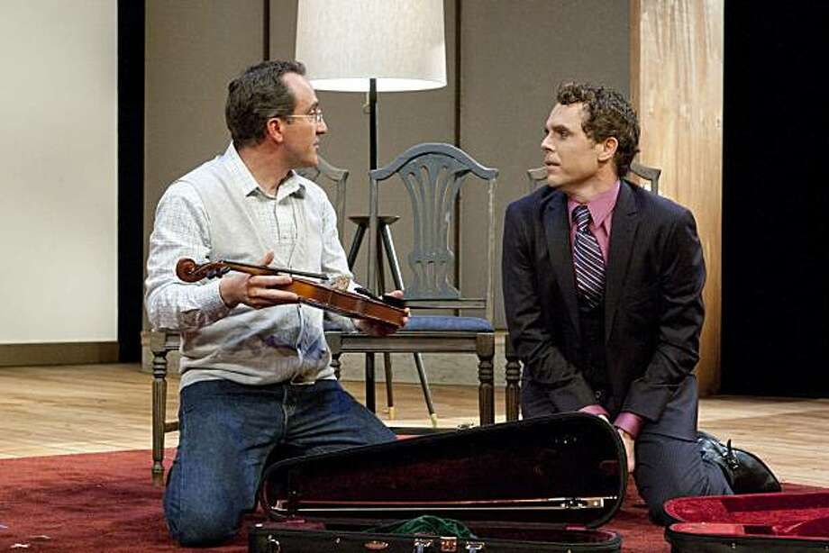"Elliott (Richard Frederick, left) cannot believe that Dorian (Mark Anderson Phillips) has brought home a genuine Lazara violin and viola in Michael Hollinger's ""Opus"" at TheatreWorks Photo: Mark Kitaoka"