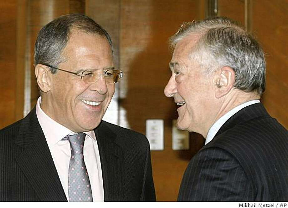 Russian Foreign Minister Sergey Lavrov and Terry Davis, Secretary General of the Council of Europe, right, smile during their meeting in Moscow on Wednesday, Nov. 12, 2008. (AP Photo/ Mikhail Metzel) Photo: Mikhail Metzel, AP