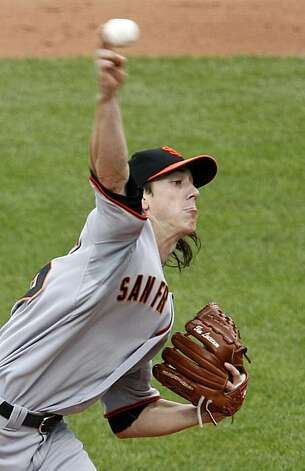 San Francisco Giants pitcher Tim Lincecum throws in the fifth inning during a baseball game against the Pittsburgh Pirates in Pittsburgh Sunday, June 6, 2010. Photo: Gene J. Puskar, AP