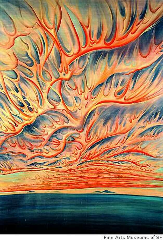 """Setting Sun: Sacramento Valley,'' a 1925 scroll painting on silk mounted to paper by Chiura Obata is one of the highlights of the ""Asian/American/Modern Art'' exhibition at the de Young Museum. Photo: Fine Arts Museums Of SF"