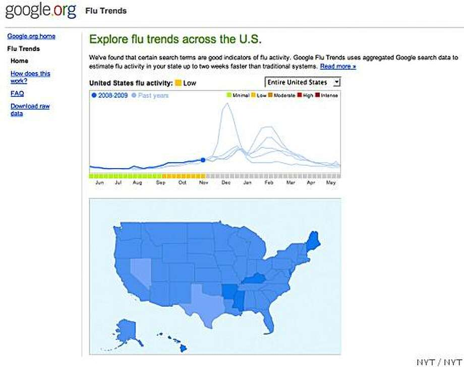 "(NYT46) UNDATED -- Nov. 11, 2008 -- GOOGLE-FLU-TRENDS -- A screengrab from Google. There is a new common symptom of the flu, in addition to the usual aches, coughs, fevers and sore throats. Turns out a lot of ailing Americans enter phrases like ""flu symptoms"" into Google and other search engines before they call their doctors. That simple act, multiplied across millions of keyboards in homes around the country, has given rise to a new early warning system for fast-spreading flu outbreaks, called Google Flu Trends. (The New York Times)*EDITORIAL USE ONLY* Photo: NYT"
