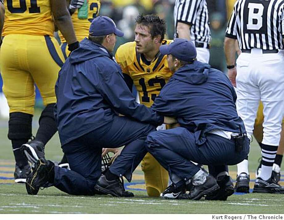 Cal's Kevin Riley is taken out of the game after a hit in the first quarter. on Saturday Nov 1,  2008 in Berkeley, Calif Photo: Kurt Rogers, The Chronicle