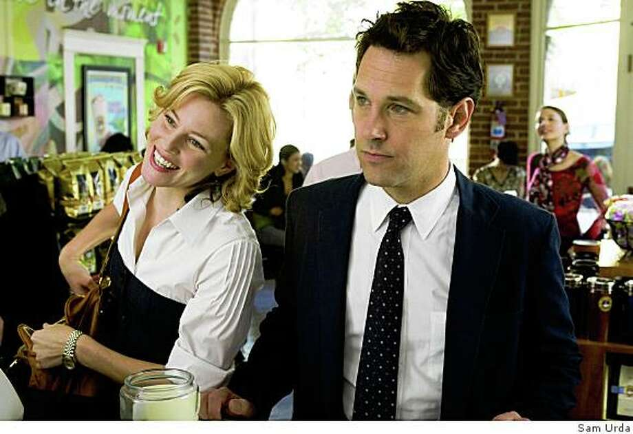 "Elizabeth Banks and Paul Rudd in ""Role Model""Beth (ELIZABETH BANKS) apologizes for her sarcastic boyfriend, Danny (PAUL RUDD), in a comedy about two guys trying to make it through probation without getting thrown in jail--?Role Models?. Photo: Sam Urda"