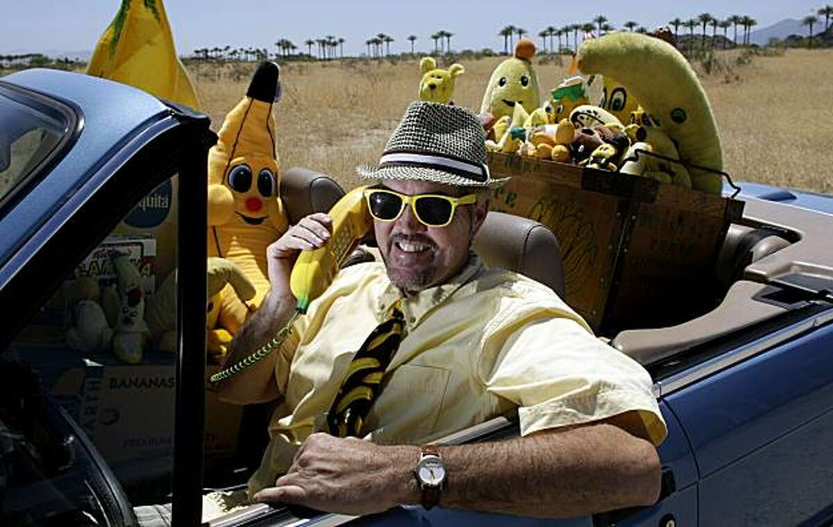 In this May 5, 2010 photo, Fred Garbutt of La Quinta has his car stacked with banana paraphernalia ready to be transported to the rescued Banana Museum at the North Shore of the Salton Sea, in La Quinta, Calif. (AP Photo/Los Angeles Times, Gina Ferazzi) NO FORNS; NO SALES; MAGS OUT; ORANGE COUNTY REGISTER OUT; LOS ANGELES DAILY NEWS OUT; VENTURA COUNTY STAR OUT; INLAND VALLEY DAILY BULLETIN OUT; SAN BERNARDINO SUN OUT; MANDATORY CREDIT, TV OUT