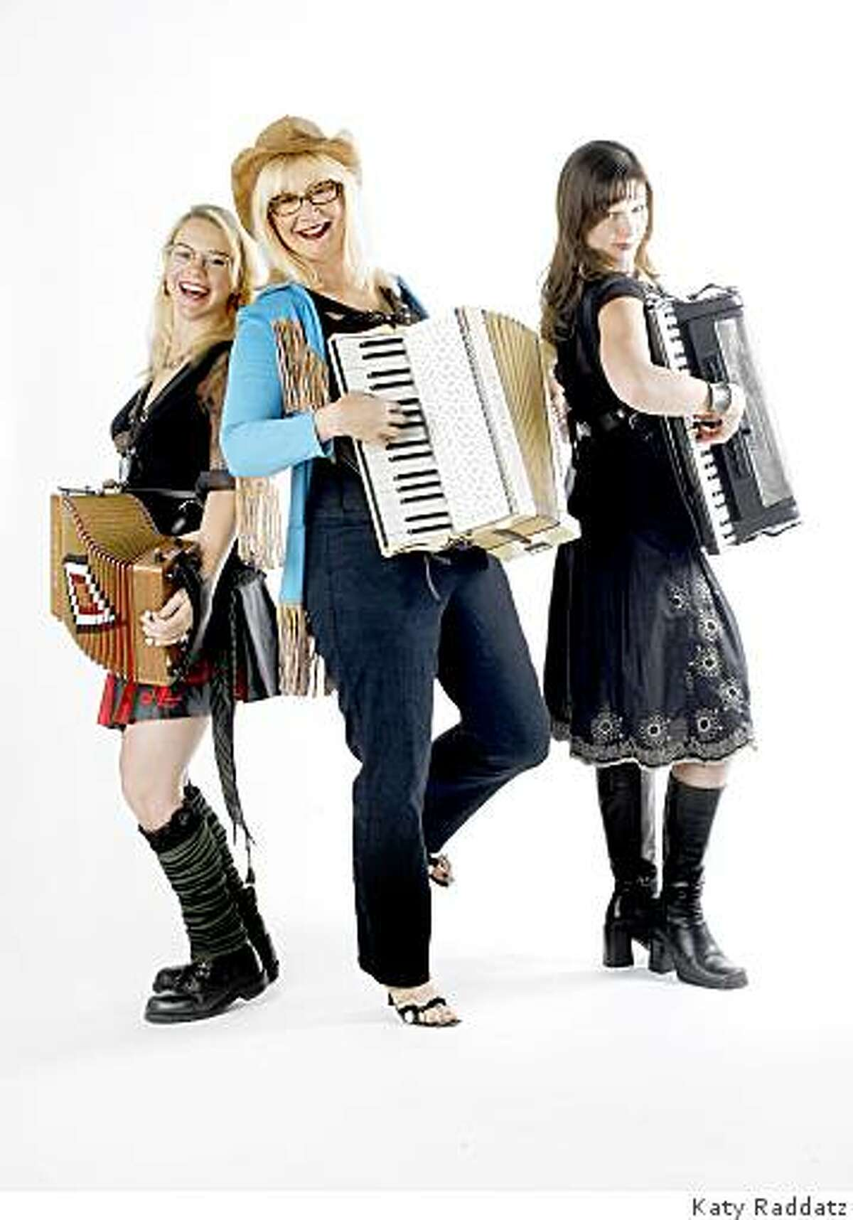 Participating in the Wild Women of the Accordion festival are (From Left to Right) Renee de la PradeBig Lou, Isabel Douglass