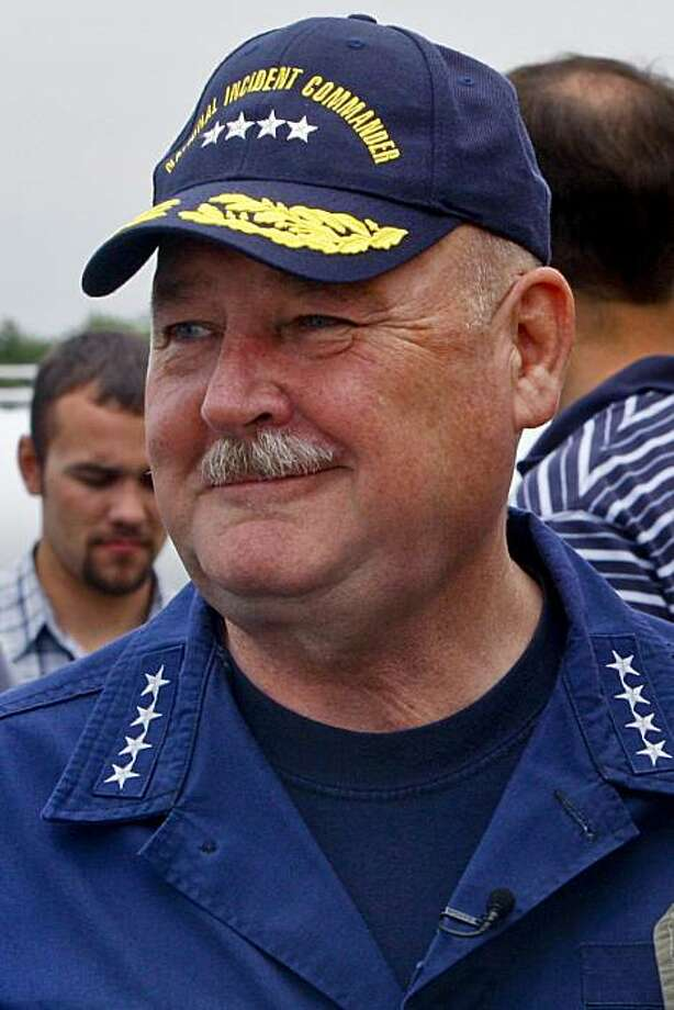 Thad Allen, U.S. Coast Guard National Incident Commander, arrives at Houma Airport in Houma, Louisiana, U.S., on Wednesday, June 2, 2010. The biggest oil spill in U.S. history, which began when BP Plc's Deepwater Horizon rig exploded on April 20, has soiled about 140 miles (225 kilometers) of coastline, halted new exploratory deep-water drilling in the Gulf and shut down a third of its fishing areas. Photographer: Derick E. Hingle/Bloomberg *** Local Caption *** Thad Allen Photo: Derick E. Hingle, Bloomberg