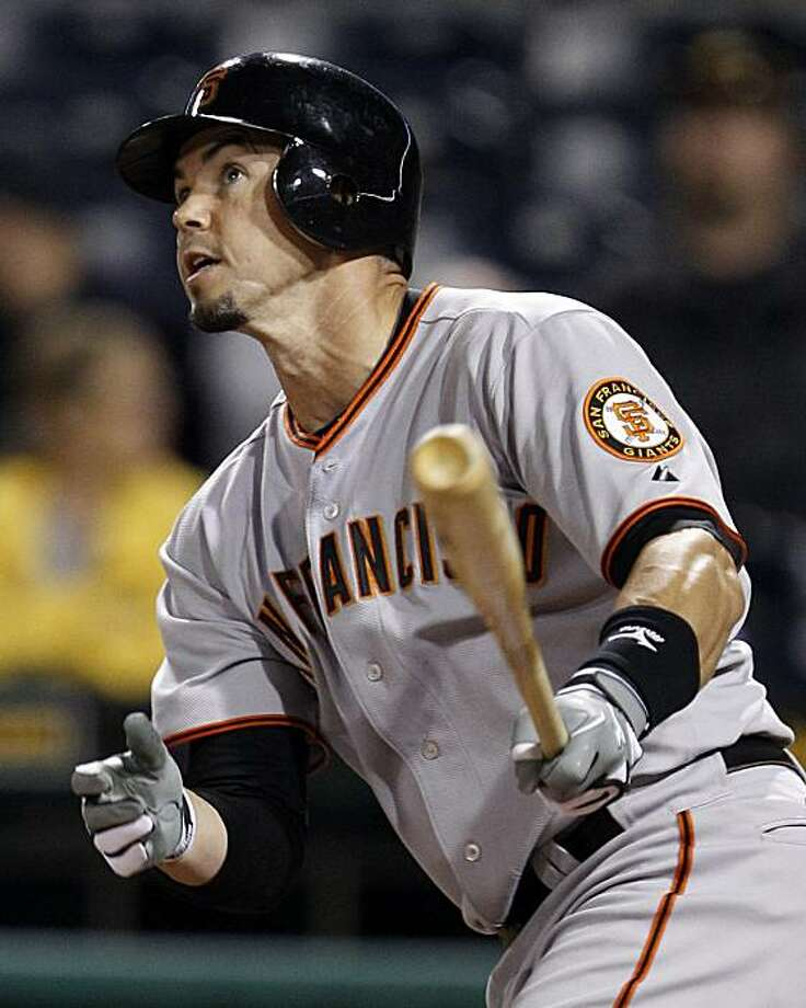 San Francisco Giants' Eli Whiteside follows through on a solo-home run off Pittsburgh Pirates Zach Duke in the sixth inning of a baseball game in Pittsburgh Friday, June 4, 2010. Photo: Gene J. Puskar, AP
