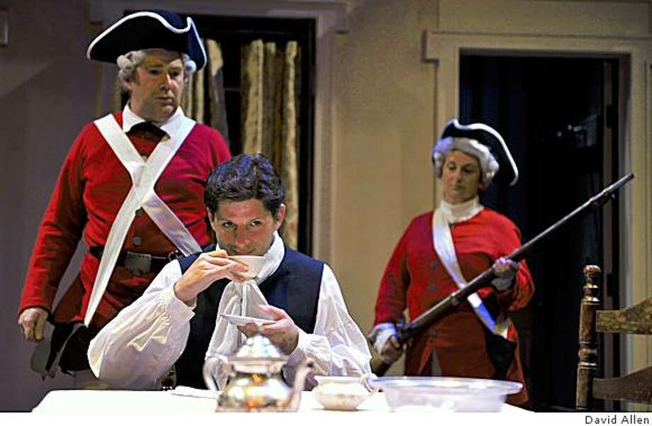 "Gabriel Marin (center) as American colonist Richard Dudgeon, the title role in ""The Devil's Disciple,"" is taken prisoner by British redcoats (Michael Ray Wisely, left, and Trish Mulholland) Photo: David Allen"
