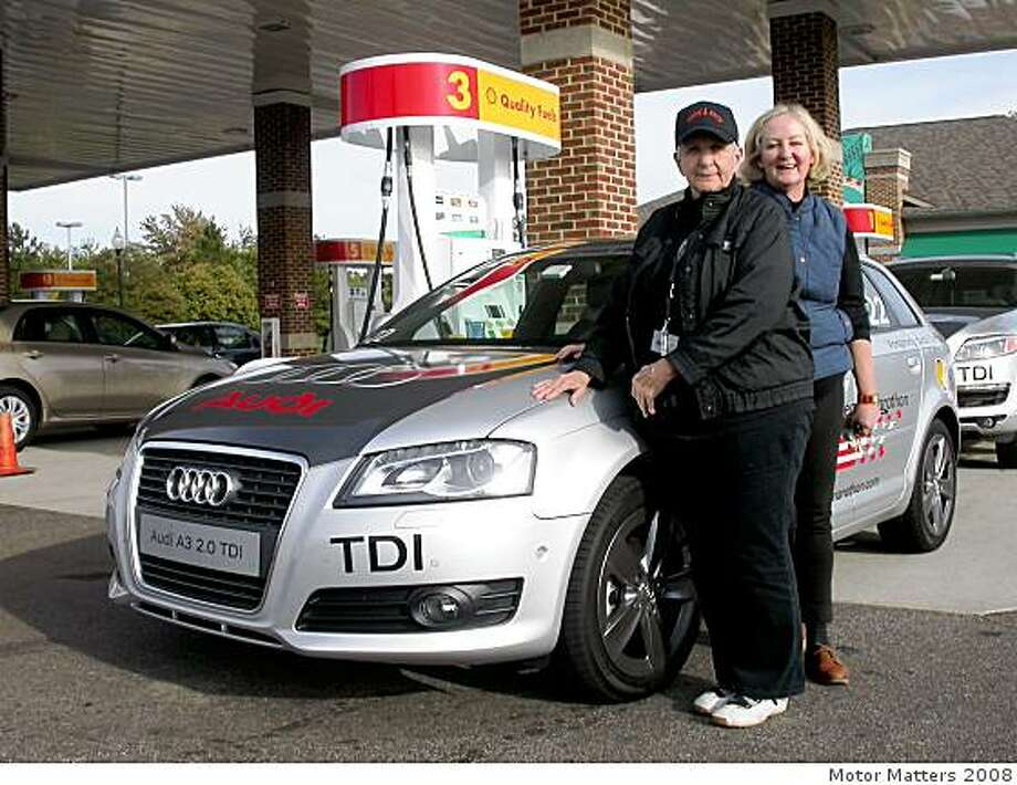 McCluggage (front) and McLeod (back) averaged 45 mpg throughout their trip in the Audi A3. Photo: Motor Matters 2008