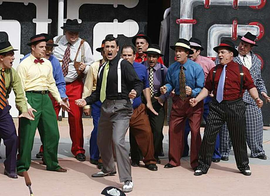 "Sky Masterson (Tyler McKenna, front center) leads the chorus of gamblers in ""Luck Be a Lady"" in the Mountain Play's revival of ""Guys and Dolls"" Photo: Muriel Kaplan"