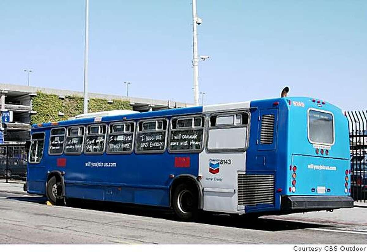 Chevron bus advertising wrap