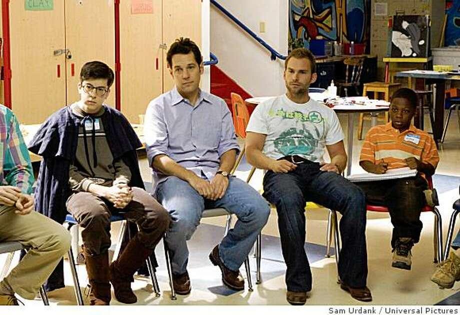 "Christopher Mintz-Plasse, Paul Rudd, Seann William Scott and Bobb'e J. Thompson stars ""Role Models."" Photo: Sam Urdank, Universal Pictures"