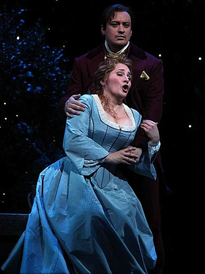 "Patricia Racette as Marguerite and Stefano Secco as the main title during the second act in ""Faust"", San Francisco Opera's summer season opener during a dress rehearsal in San Francisco, Calif., on  Wednesday, June 2, 2010. Photo: Liz Hafalia, The Chronicle"