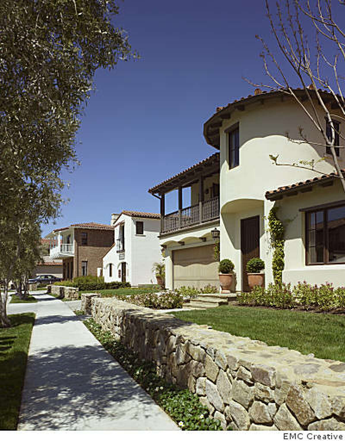 Bella Vista, a 31-home development above Vasona Lake in Los Gatos. This is the Mallorca exterior, which is featured in the story. The houses run from $1 to 2 million.