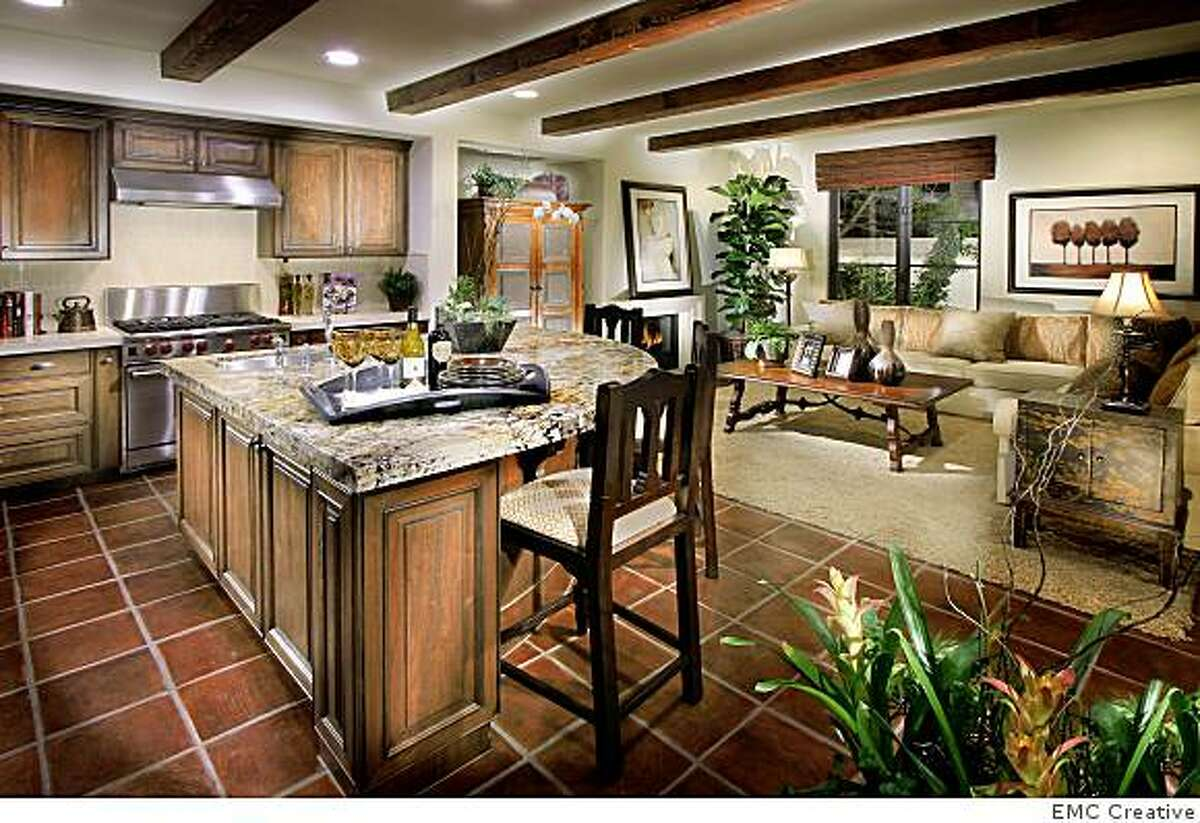 Bella Vista, a 31-home development above Vasona Lake in Los Gatos. the understated, but very nice houses go for $1 million to $2 million. This is the kitchen of the Mallorca model, featured in the story.