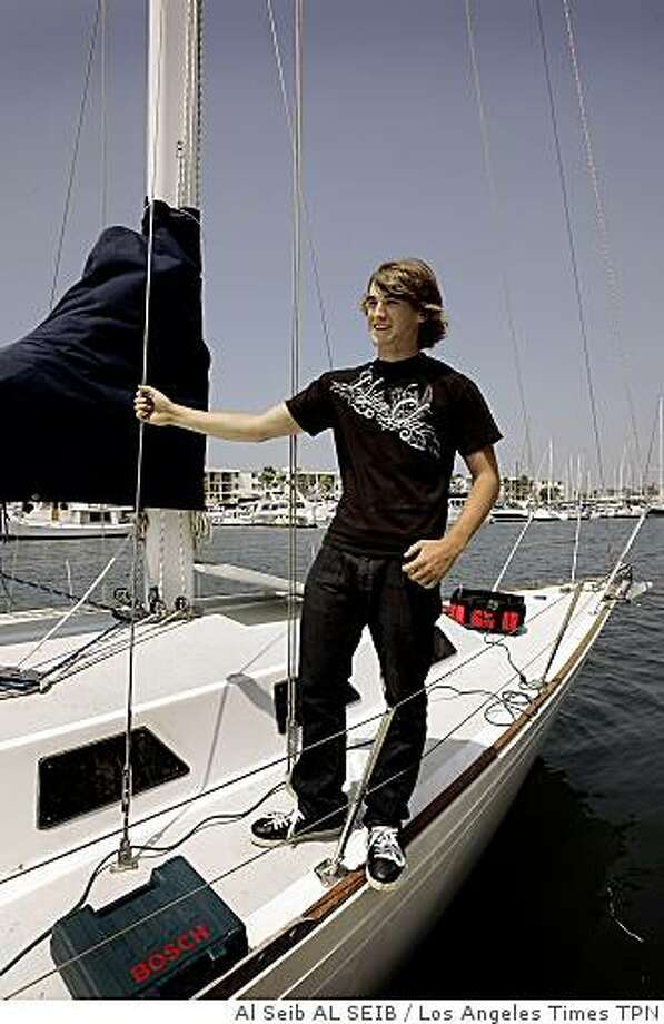 Zac Sunderland, 16, in Marina del Rey, Calif., in May 2008 before he began his solo journey around the world on a 36-foot sailboat. He is approaching the halfway point of his journey. Illustrates TEEN-SAILOR (category a) by Pete Thomas (c) 2008, Los Angeles Times. Moved Saturday, Nov. 8, 2008. (MUST CREDIT: Los Angeles Times file photo by Al Seib.)Zac Sunderland, 16, in Marina del Rey, Calif., in May 2008 before he began his solo journey around the world on a 36-foot sailboat. He is approaching the halfway point of his journey. Illustrates TEEN-SAILOR (category a) by Pete Thomas (c) 2008, Los Angeles Times. Moved Saturday, Nov. 8, 2008. (MUST CREDIT: Los Angeles Times file photo by Al Seib.) Photo: Al Seib AL SEIB, Los Angeles Times TPN