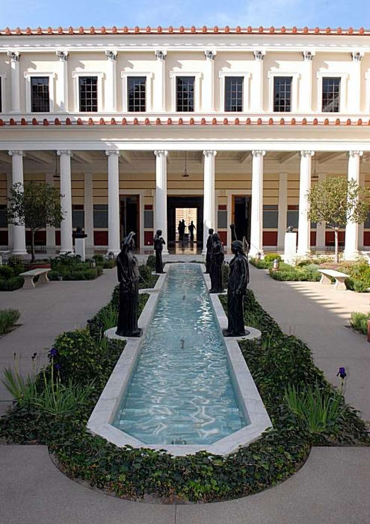 a view of the Inner Peristyle inside the J. Paul Getty Museum at the Getty Villa.