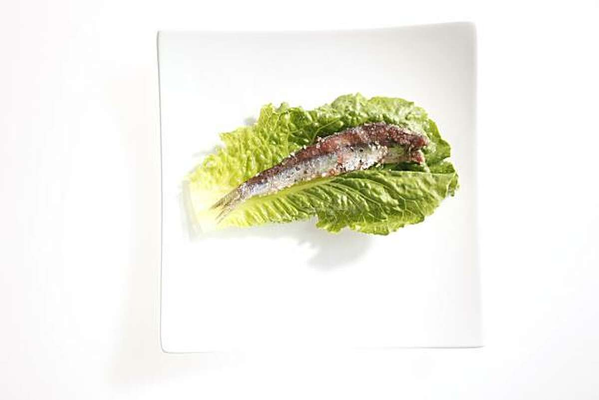 Salt-packed anchovy, ingredient for Caesar salad from Bay Wolf restaurant in San Francisco, Calif., on May 26, 2010. Food styled by Anne Dolce.