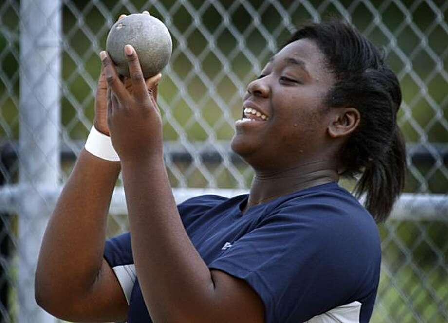 Chioma Amaechi prepares for the state high school track and field championship in San Francisco, Calif., on Wednesday, June 2, 2010. The Lincoln High School senior has a solid chance at winning the shot put this weekend in Fresno. Photo: Paul Chinn, The Chronicle
