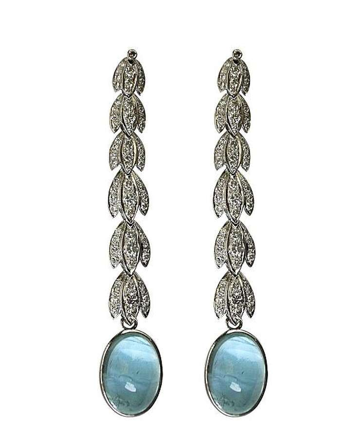 These Sethi Couture aquamarine earrings Shreve & Co., 200 Post St., San Francisco. They are $7,200. Designer Pratima Sethi is based in San Francisco. Photo: Sethi Couture