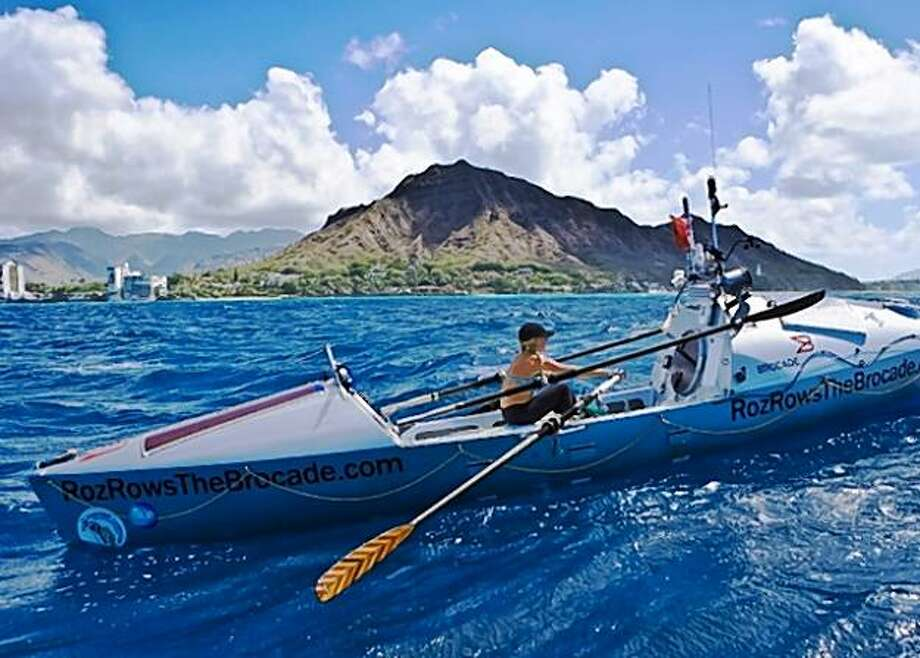 Roz Savage makes it to Diamond Head after rowing from San Francisco to raise awareness about climate change in 2009. Photo: Courtesy Of Roz Savage